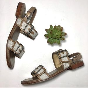 Frye Tweed Canvas Leather Sandals Tan Taupe sz 9.5